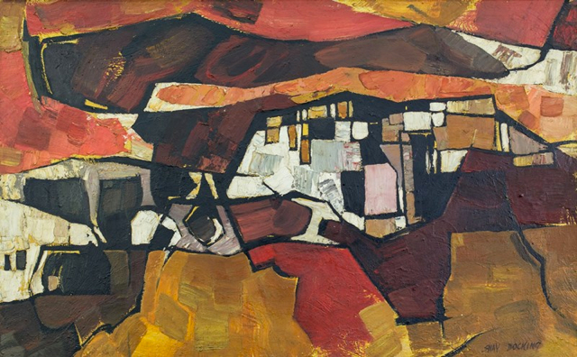 SHAY DOCKING, City with Cliffs (Harbour Series) 1964 oil on board 76.0 x 122.0 cm