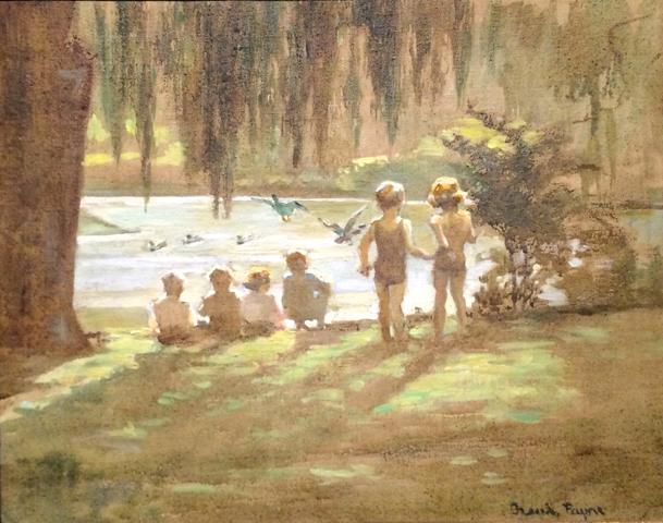 Frank Payne, Ducks c.1915, oil on canvas laid down on board 30.5 x 38.0 cm