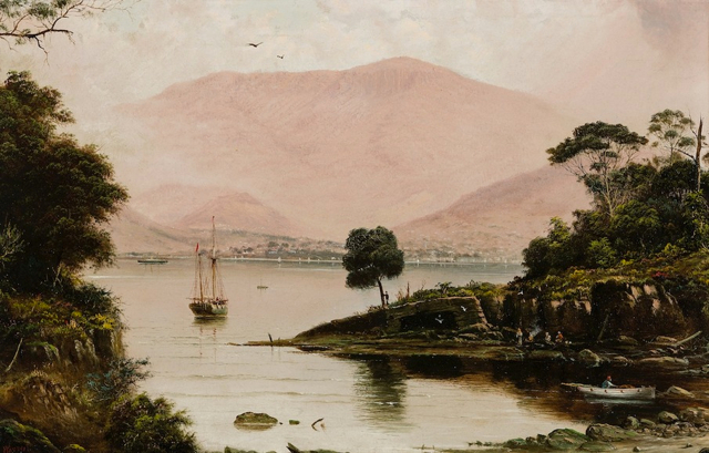 James Haughton Forrest, VIEW OF HOBART FROM ACROSS THE DERWENT C1890S, oil on academy board 28.5 x 44.0 cm