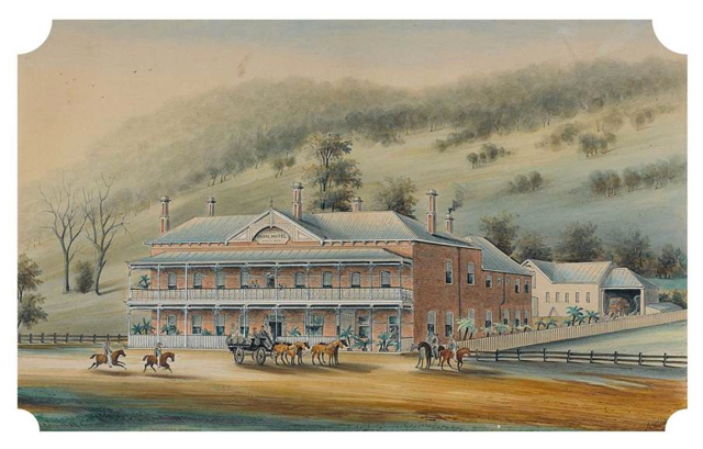 William Taylor Smith Tibbits, ROYAL HOTEL, FERNTREE GULLY, watercolour, pen and ink on paper 26.8 x 40.8 cm