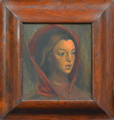 Jocelyn Rickards, Portrait of a Lady, oil on board 29.5 x 26.5 cm
