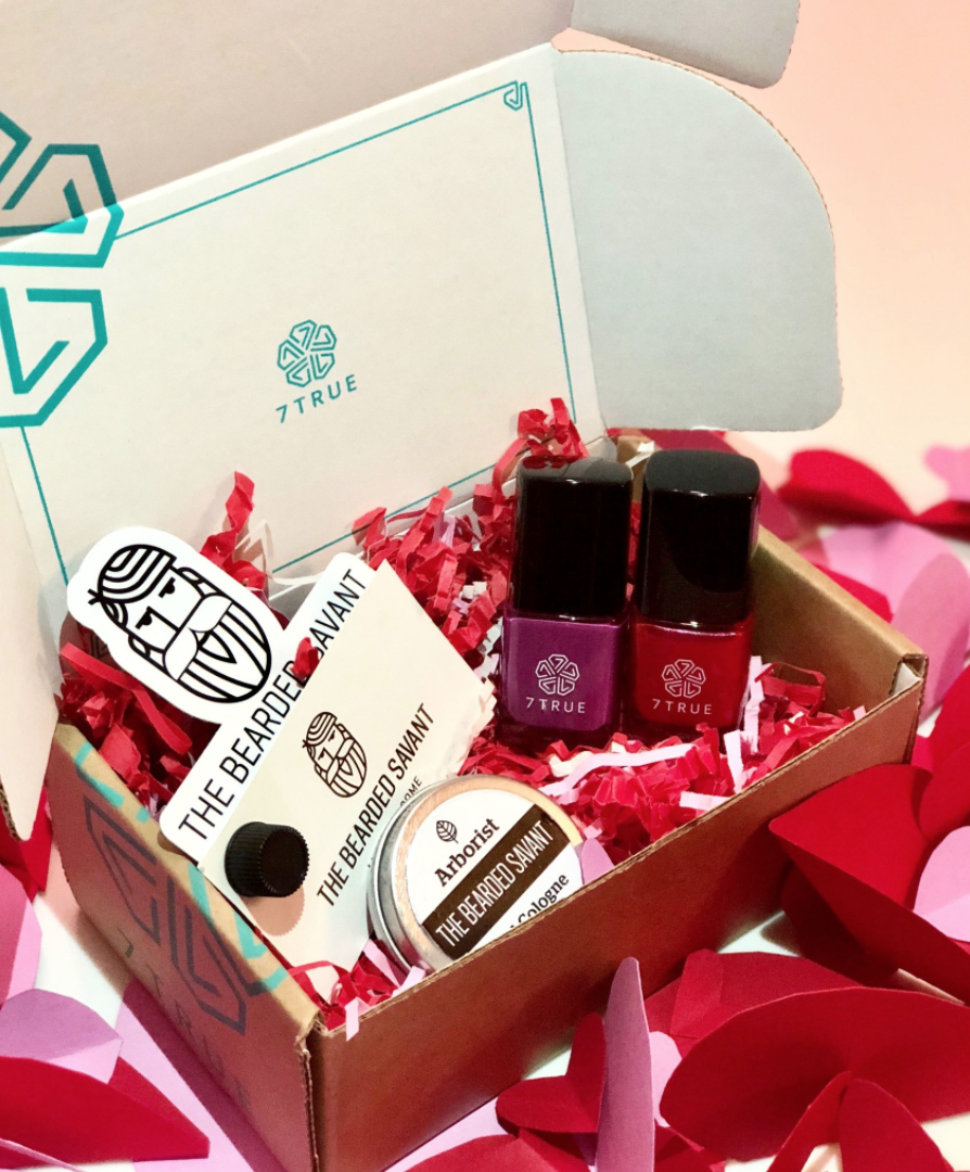 Share The Love Box - We are excited to partner with 7True, the source for cosmetics that are safe for everyone while giving back to women empowerment organizations! Our Share The Love Box includes two of their fabulous February colors (reg. $30) + our Arborist solid cologne (reg. $35) for only $30! Paired with their luxurious colors, it's the perfect match!