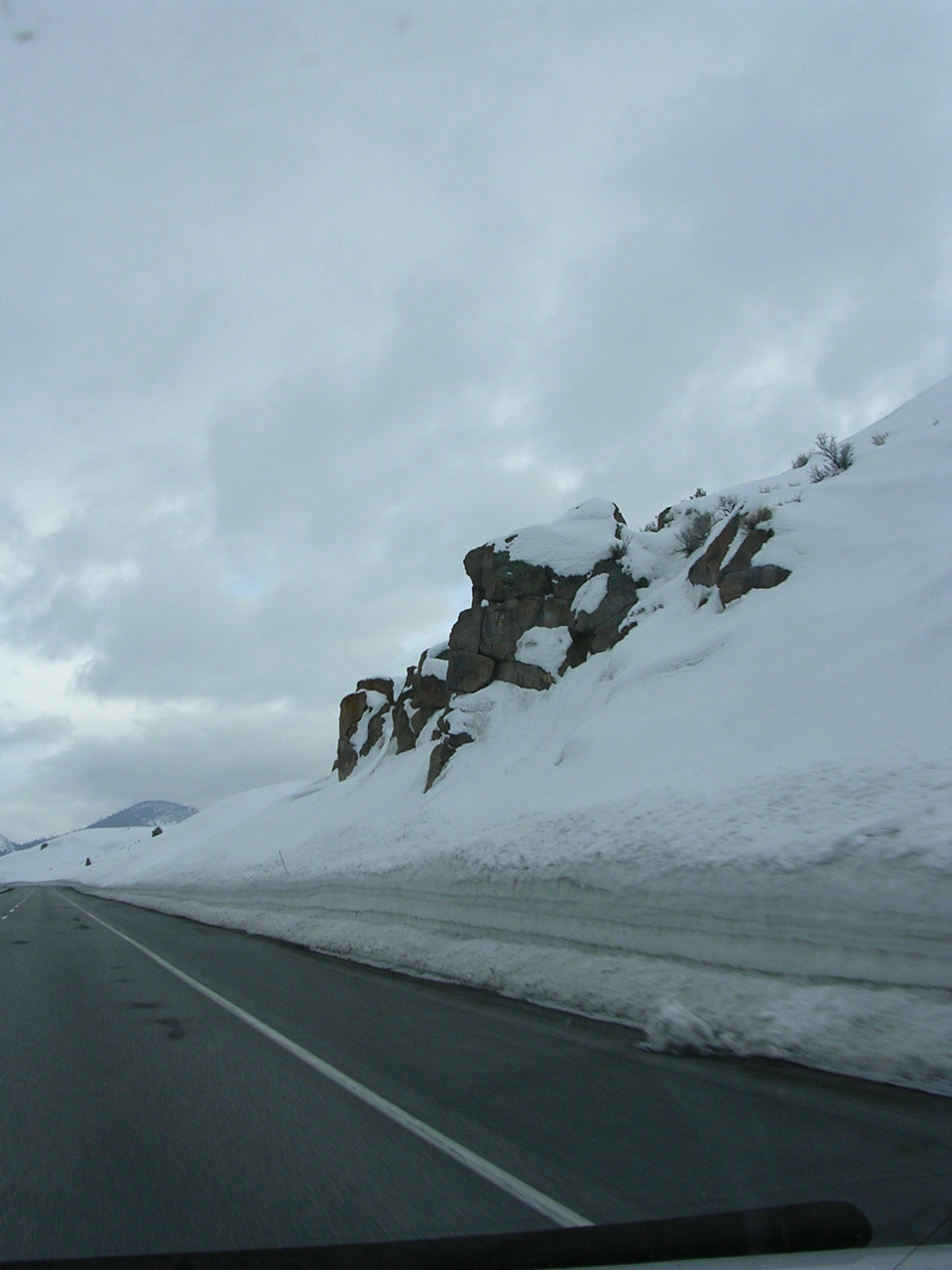 Snowy roadside on Hwy. 395