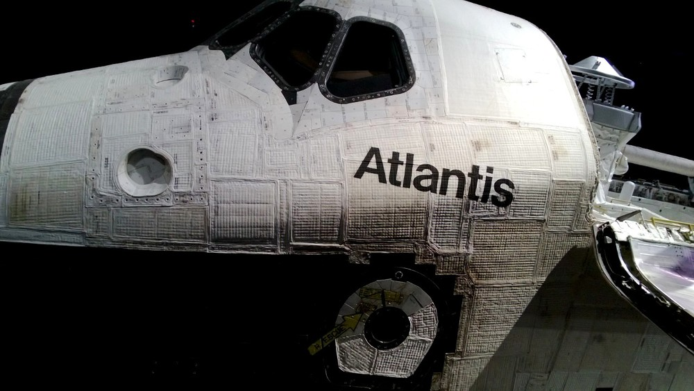A close-up of Atlantis inside the exhibit with scorch marks visible on the thermal blanket (click on image for larger version). Credit: Sawyer Rosenstein