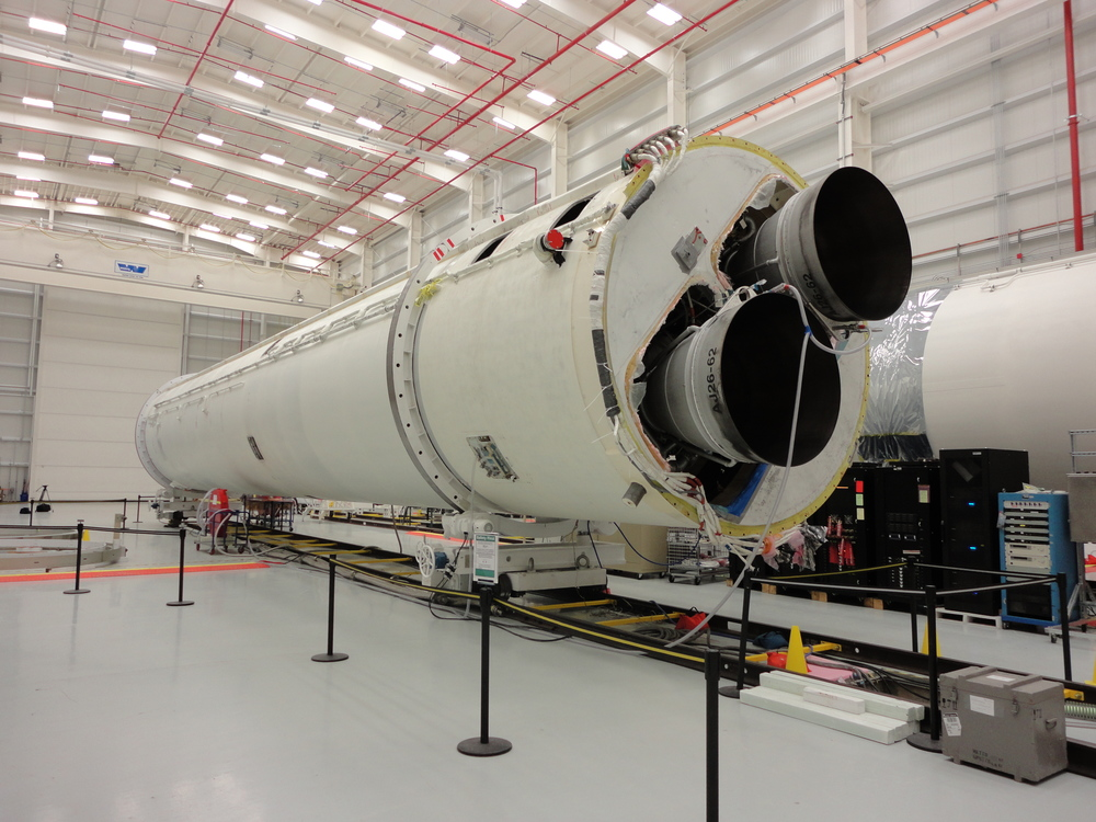 The first stage of the next Antares rocket sits in the Horizontal Integration Facility. Launch is scheduled for Summer 2013. Credit: Gene Mikulka