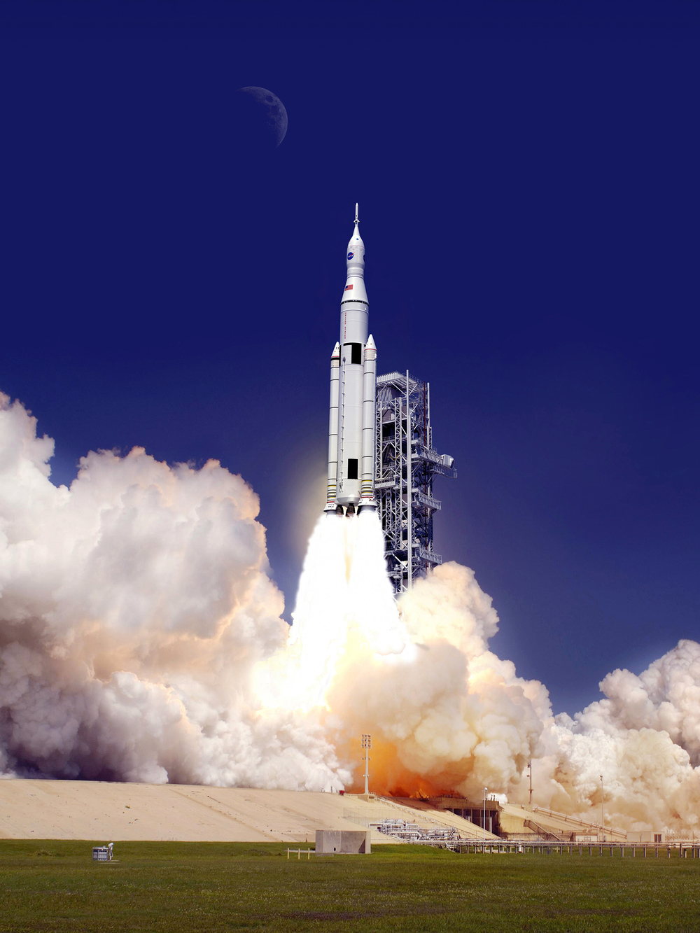 An artist's concept of the Space Launch System lifting off from the launch pad