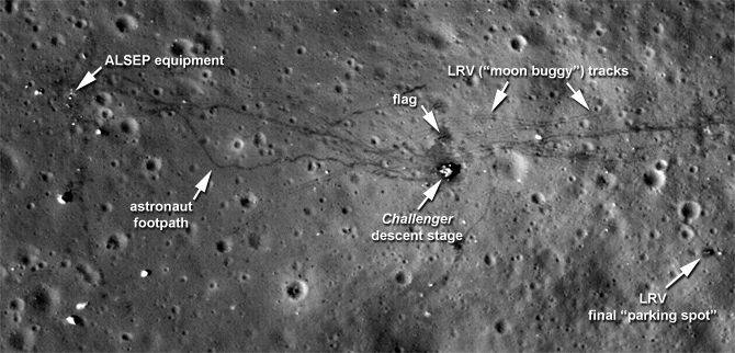 A shot of the Apollo 17 landing site as taken by the Lunar Reconnaissance Orbiter. Click to see the full image. Credit: NASA's Goddard Space Flight Center/ASU