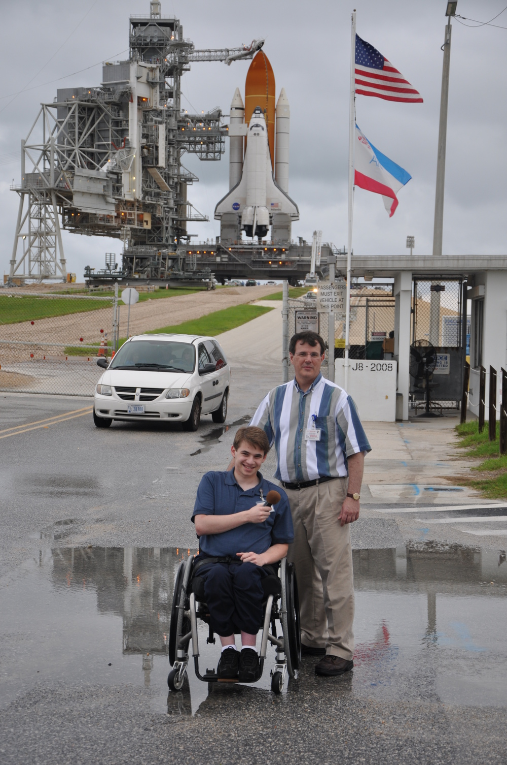 From left to right Sawyer Rosenstein and Gene Mikulka of Talking Space prepare to broadcast the launch of Atlantis by saying goodbye to her before she launches Credit: Sawyer Rosenstein