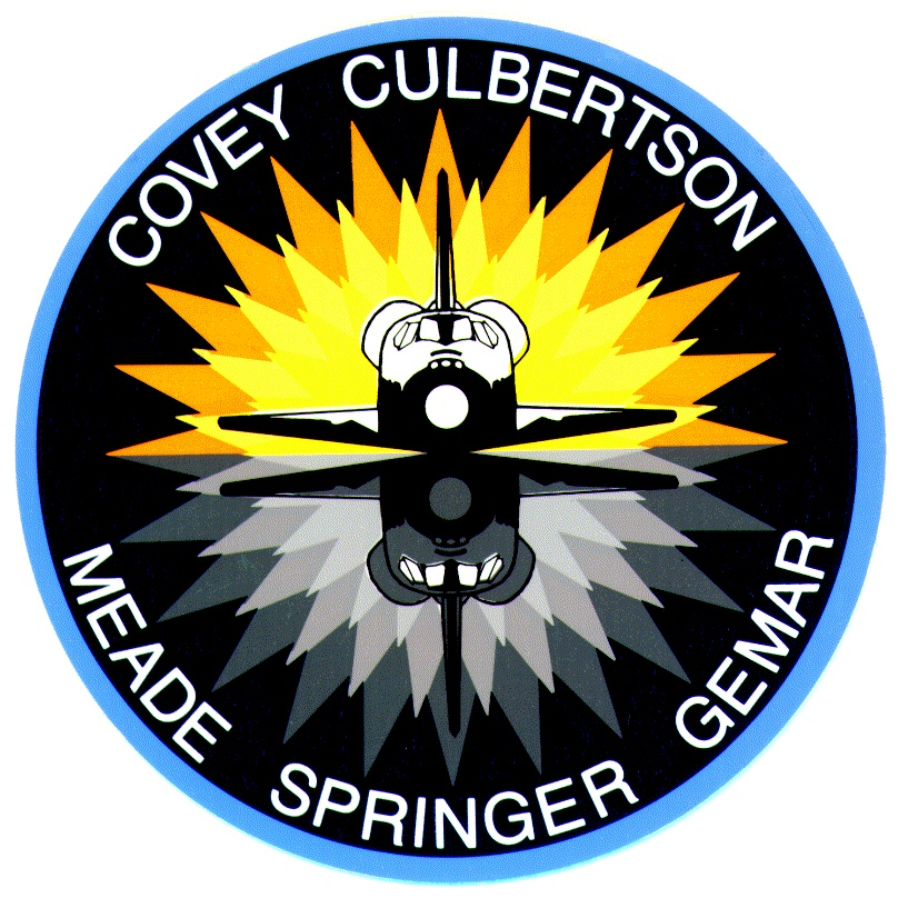The STS-38 mission patch, which the significance of is described in the episode. Credit: NASA