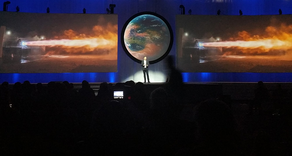 Elon Musk delivering his talk at the 2016 IAC, outlining SpaceX's plans to send humans to Mars. Credit: Kassy Tamanini