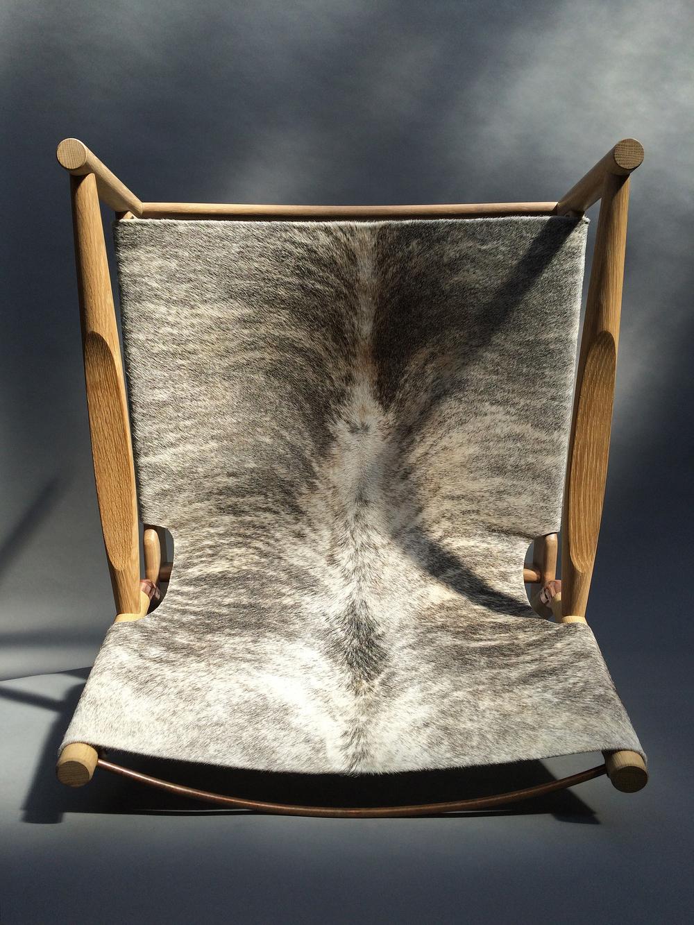 "Grey+brown brindle hide Cerused white oak Polished copper 28""H x 28"" W x 31""D"