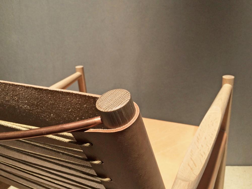 "Nude saddle leather Cerused white oak Raw copper 28""H x 28"" W x 31""D"