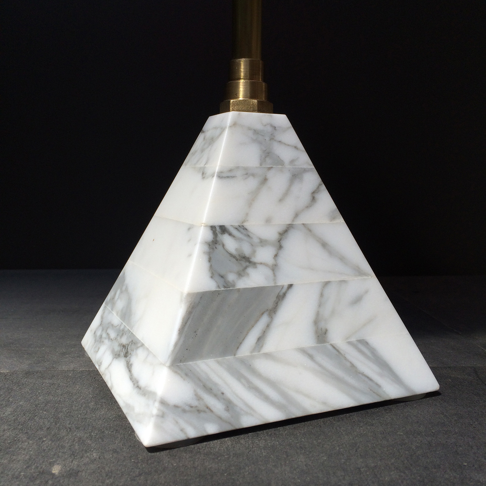 Statuary marble pyramid base
