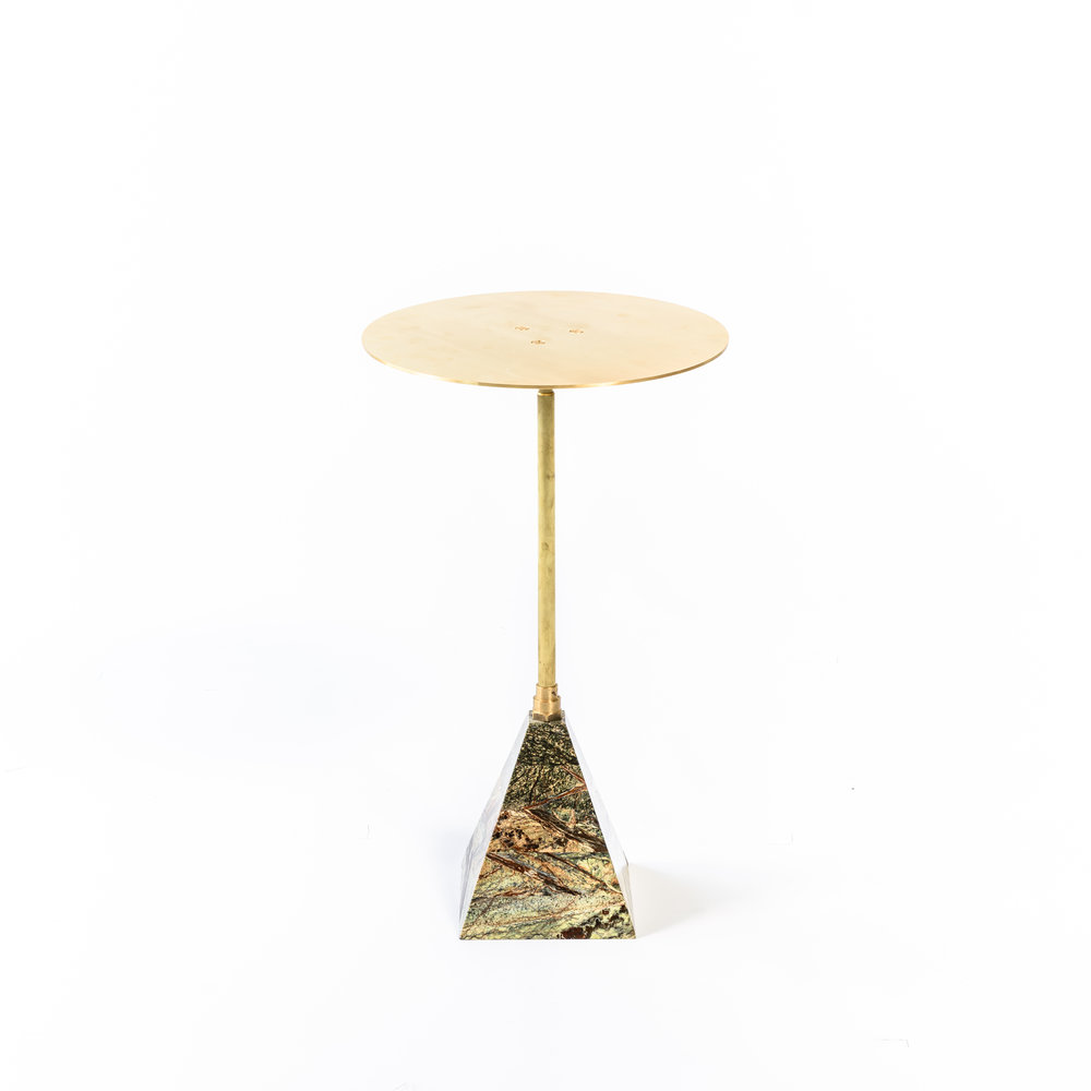 """Brushed brass top   Telescoping brass post   Marble base  22"""" H x 15"""" W x 15"""" D"""