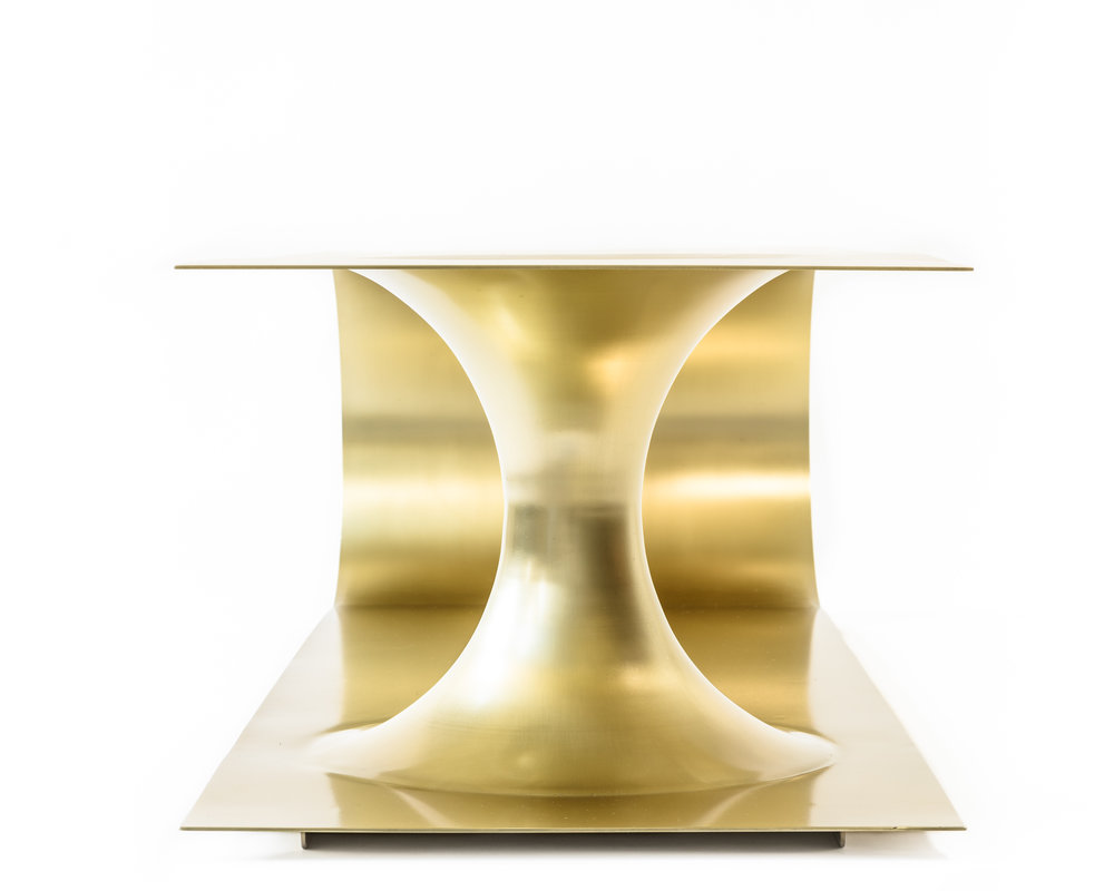 "Brass plated steel   Brushed finish 60"" L x 20"" D x 15.5"" H"