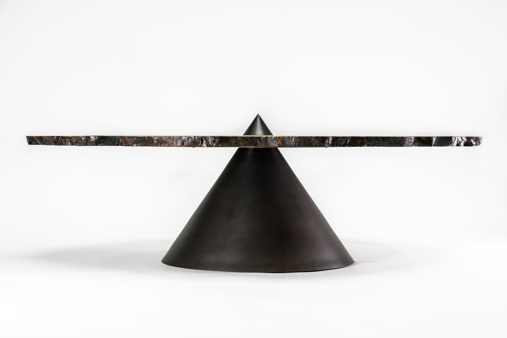 "Bastogne walnut  Blackened bronze 57"" x 16"" H x 26"""
