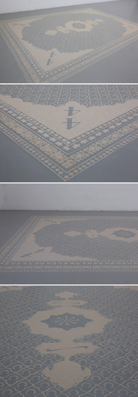 Sand. It's SAND. The artist, Daniëlle van Ark,spent 5 weeks in residency creating these intricate sand patterns on the floor and when the exhibition was over - poof - is if they were never there. The subdued color palette lends to the ghostly effect. Good stuff.