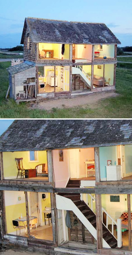 Here's a new take on the theme: Artist Heather Benning took an abandoned farm house in the Canadian prairies and transformed it into a life sized dollhouse.