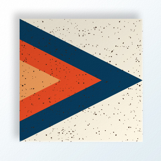 "Arrowhead 12""x12"" $70 shop here Arrowhead is designed to hang in any orientation and looks smashing in multiples or grouped with the coordinating designs. Arrowhead is printed in a deep blue, dark red-orange and yellow-orange on a linen colored background with an all-over speckle."
