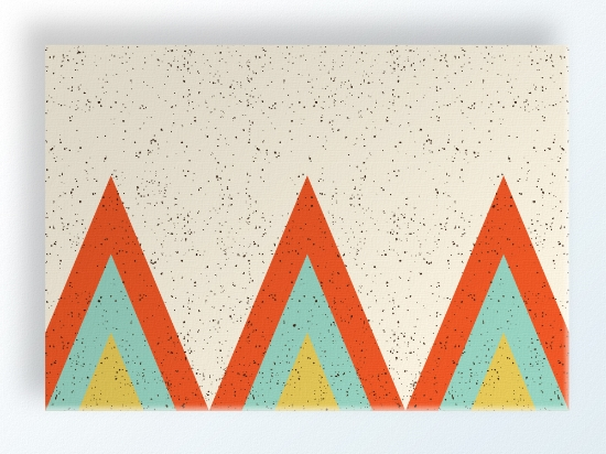 "TeePee Ridge 20""x14"" $110 shop here TeePee Ridge is red-orange, teal blue, and bright yellow-green printed on a linen colored background and features an all-over speckle pattern."