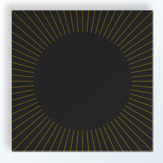 "Eclipse 12""x12"" $70 shop here Eclipse is printed with a very deep gray with goldenrod/ochre lines creating the eclipse pattern to the edges"
