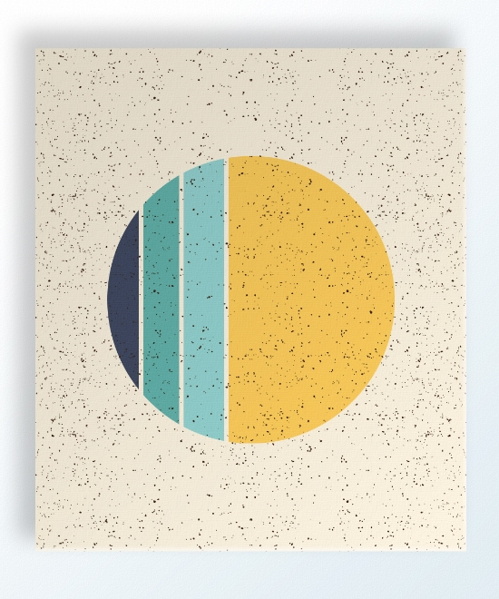 "Phases 12""x14"" $76 shop here Phases is printed on a linen colored background with an all-over speckle pattern. Circle detail shifts from Deep blue to green-blue to blue and finally mustard yellow."