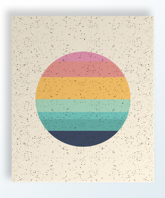 "Imogen Sunset 12""x14"" $76 shop here Imogen Sunset is printed on a linen colored background with an all-over speckle pattern. Circle detail is seven different shades varying from pink, peach, yellow-orange, mint, aqua, green-blue and navy."