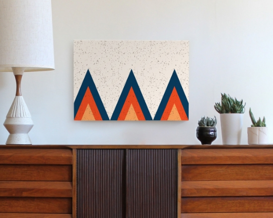 "Seen here: TeePee Ridge (Marfa color scheme) 20""x14"" $110  shop here  Also in 30""x20"" $214 shop here TeePee Ridge is vintage yellow-orange, dark red-orange, and deep blue printed on a linen colored background and features an all-over speckle pattern. Custom sizes available. Please  inquire for pricing shoptramake@gmail.com"