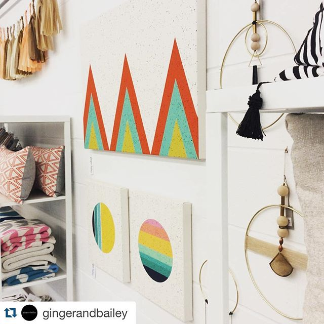 We are delighted to be a part of the totally gorgeous shop @gingerandbailey in downtown Mokena. Local friends, you must check them out! #geometricart #tramake #gingerandbaileyshop #mokena #shopsmall #instaart #smallbusiness #colorlove #colors #storefront #boutiqueshopping