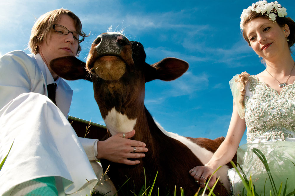 Dani & Laura were married at Farm Sanctuary in Watkins Glen, NY and celebrated with some cuddle time with the amazing young steer named Michael. Their wedding was featured in the 2014 VegNews Wedding Issue.