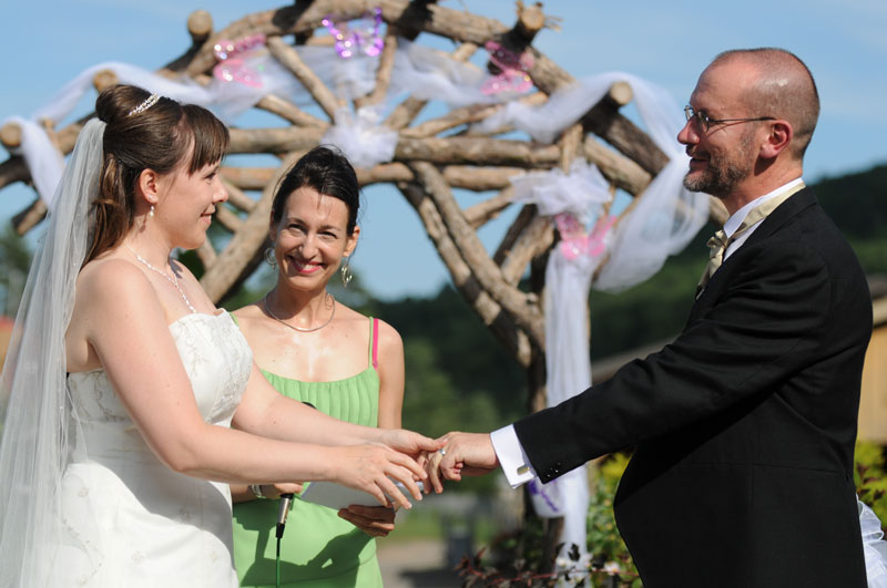 Petrina and Kevin's wedding at the Woodstock Farm Animal Sanctuary was featured in the 2011 VegNews Wedding Issue