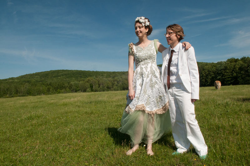 Laura & Dani's wedding at Farm Sanctuary was featured in the 2014 VegNews Wedding Issue