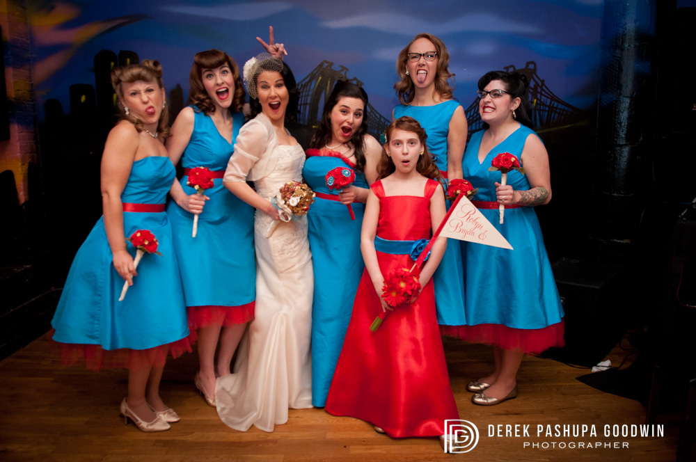 Bride and Bridesmaids formal portrait in the ReBar