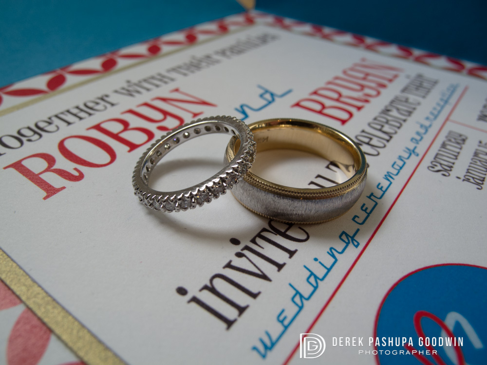 Robyn and Bryan's wedding invitation with wedding rings