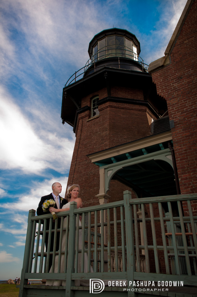 The bride and groom at Block Island lighthouse