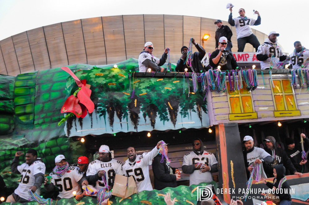 The New Orleans Saints football team on a float in their 2010 victory parade