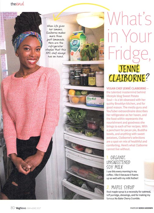 What's in Your Fridge? VegNews article with the photo I took of Jenné Claiborne and her fridge.