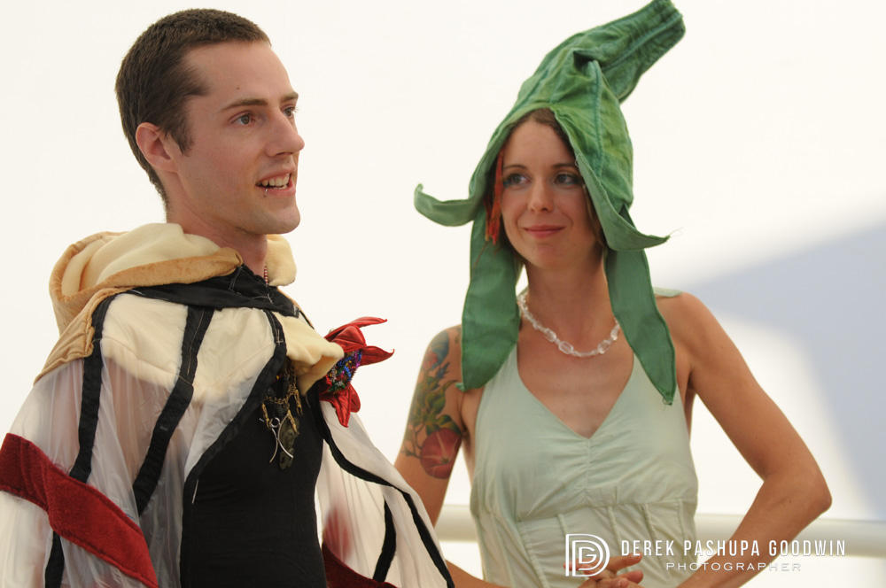 burning man bride and groom at altar