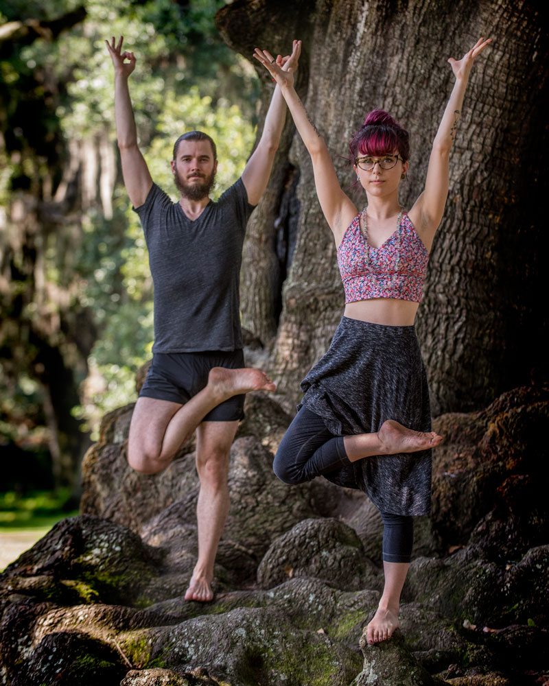 Tree Pose (Vrksasana) - This photo of Swan River Yoga teachers Thomas and Claire was taken in Audubon Park New Orleans.In their article 5 Yoga Poses for Surfers, Ines Mira & Patrick Stapleton state that,