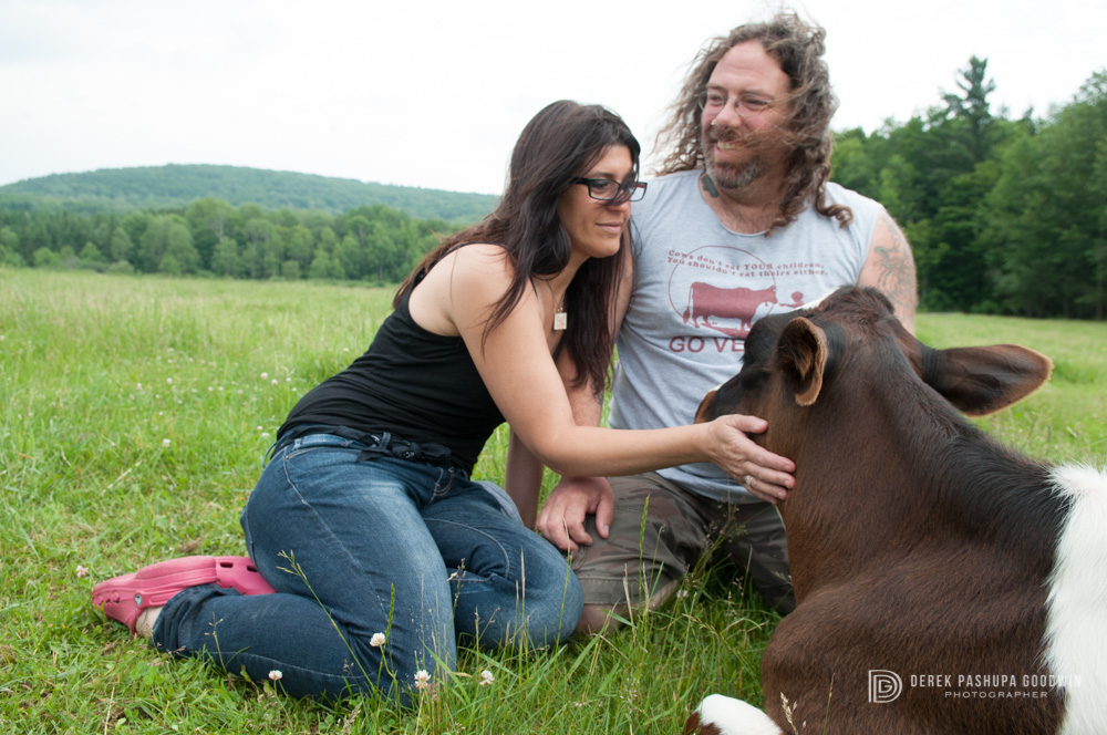 Wendy & Mike Stura with Michael the calf