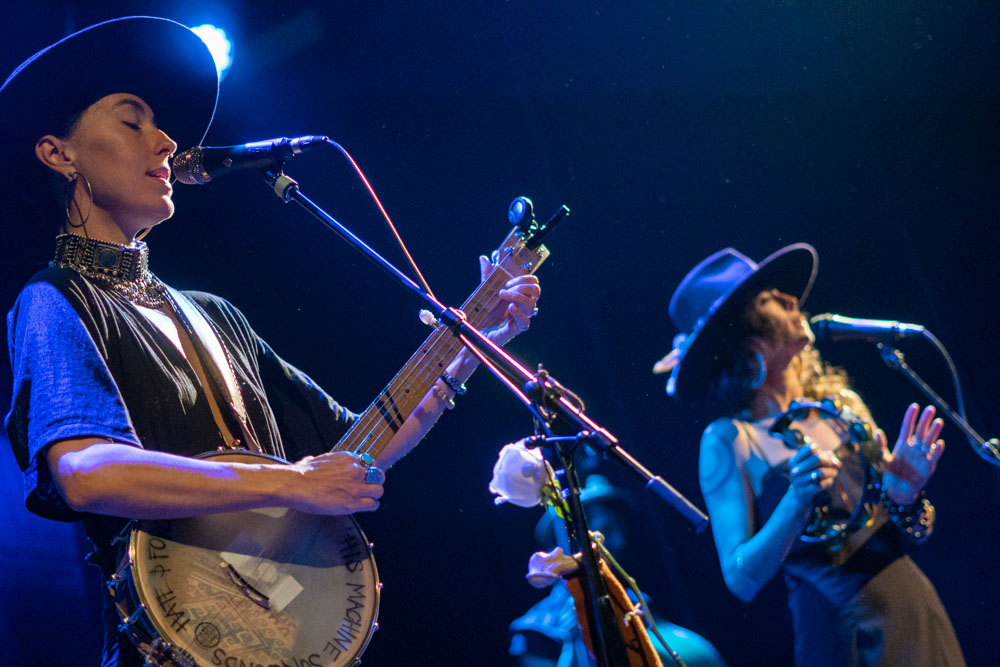 Chloe Smith and Leah Song of Rising Appalachia at the Bowery Ballroom on May 24, 2018