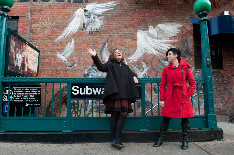 Mariann Sullivan and Jasmin Singer of Our Hen House at Brooklyn's Lafayette Ave Subway station
