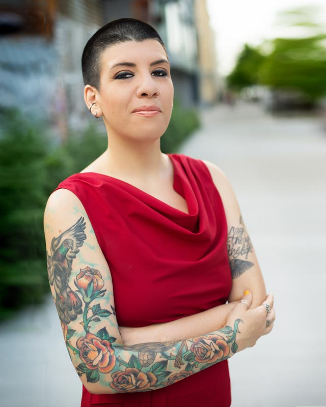Jasmin Singer Author Photo - Jasmin had me take a portrait of her to use in her book Always Too Much and Never Enough, released in 2016. We did this one on the streets in Williamsburg, the hippest part of Brooklyn, where only people with tattoo sleeves are allowed to show their arms.
