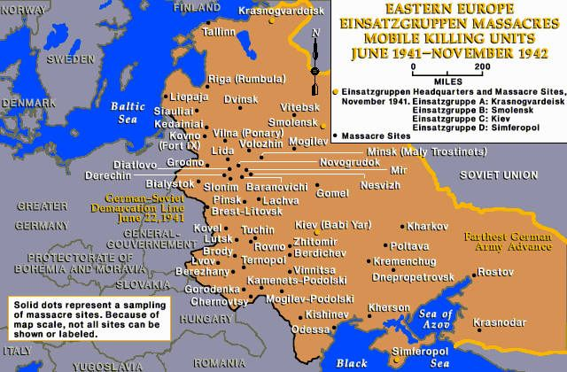 A map representing the many locations of mass grave sites in Eastern Europe. My great-grandfather was killed near Rovno. (Image courtesy of Activehistory.ca)