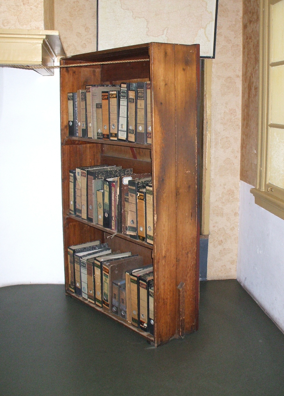 Image of the bookshelf now on display in the Anne Frank house in Amsterdam.