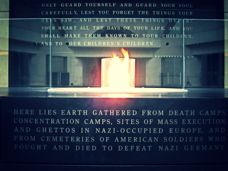 A memorial flame at the Holocaust Museum in Washington, DC.