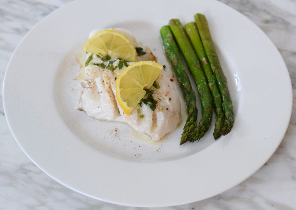 Steamed fish with lemon butter wine sauce butter sea salt for White wine butter sauce for fish