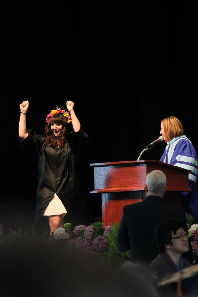 A happy cheer as I cross the stage! Photo credit to Robert Mulak