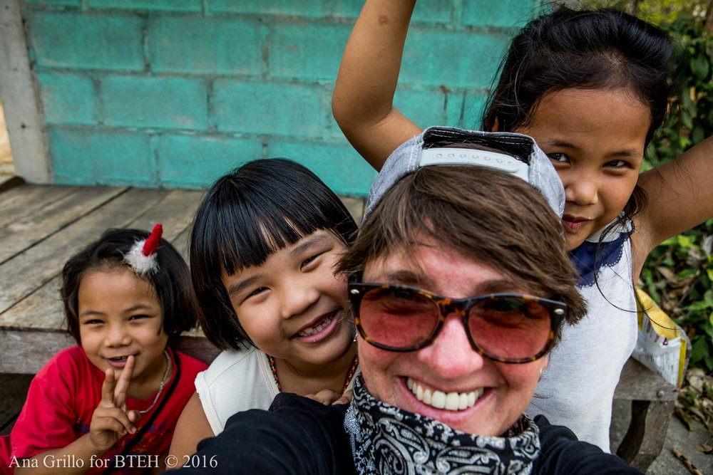 Local junior beekeepers with Ana Blue Grillo selfie break in Kanchanaburi, Thailand.