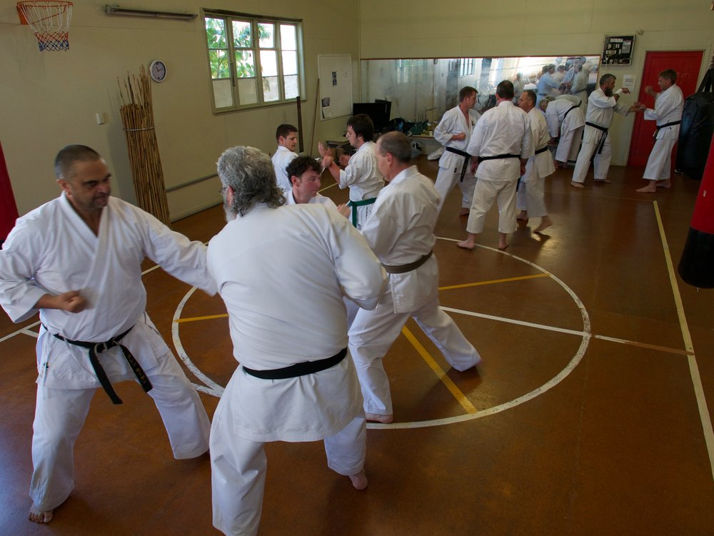 Glen Morgan-sensei (Westport) and Stewart Gutsell-sensei (Timaru) - forground